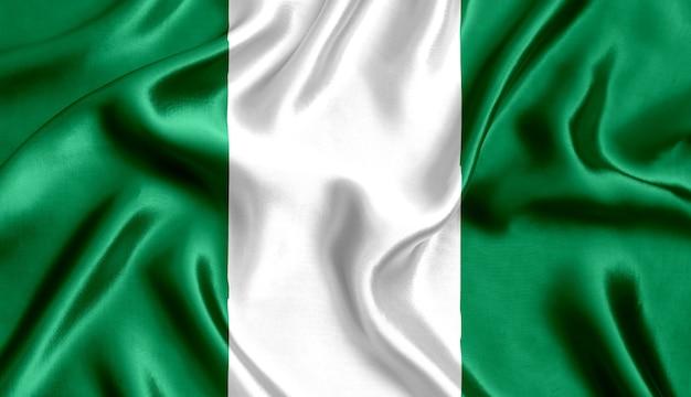 Bandiera della nigeria di seta di close-up