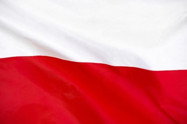 Bandiera della polonia bandierina della polonia che fluttua nel vento.