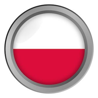 Bandiera della polonia rotonda come un bottone