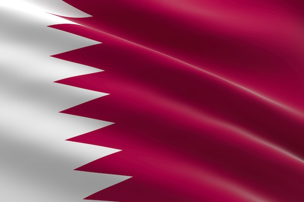 Bandiera del qatar. illustrazione 3d della bandiera del qatar sventolando