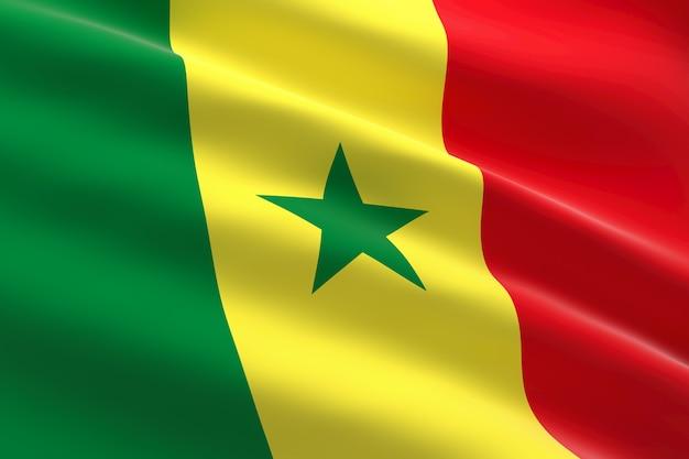Bandiera del senegal. illustrazione 3d della bandiera senegalese sventolando