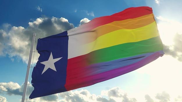 Bandiera del texas e lgbt. bandiera mista del texas e lgbt che sventola nel vento. rendering 3d.