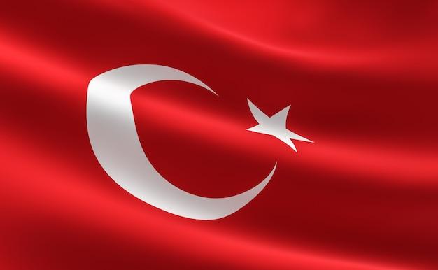 Bandiera della turchia. illustrazione della bandiera turca agitando.