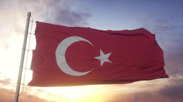 Bandiera della turchia che fluttua nel vento contro il cielo di belle nuvole profonde. rendering 3d.