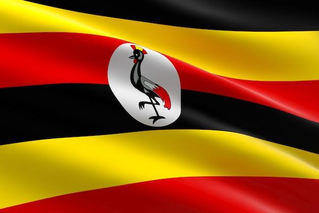 Bandiera dell'uganda. 3d illustrazione della bandiera ugandese sventolando