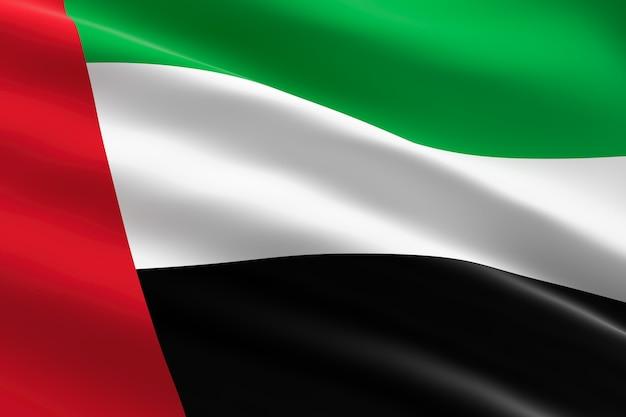 Bandiera degli emirati arabi uniti. 3d illustrazione della bandiera degli emirati arabi uniti sventolando