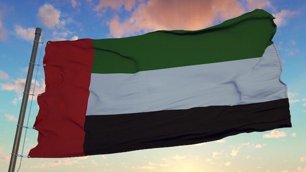 Bandiera degli emirati arabi uniti che fluttua nel vento