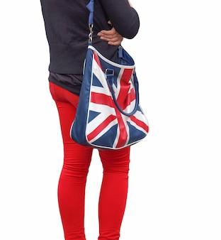 Bandiera del regno unito (uk) aka union jack su una borsa isolata