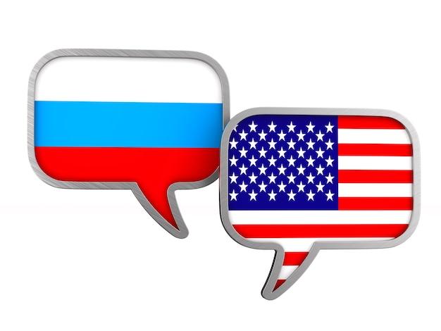 Bandiera usa e russia su uno spazio bianco. illustrazione 3d isolata