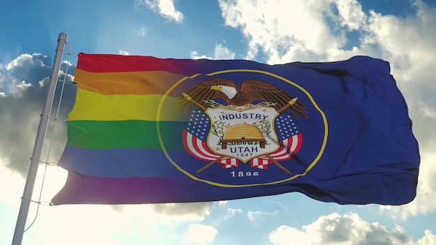 Bandiera dell'utah e lgbt. utah e lgbt mista bandiera sventola nel vento. rendering 3d.