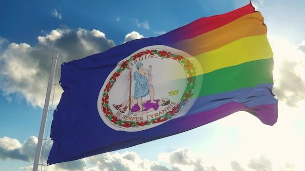 Bandiera della virginia e lgbt. bandiera mista della virginia e lgbt che sventola nel vento. rendering 3d.