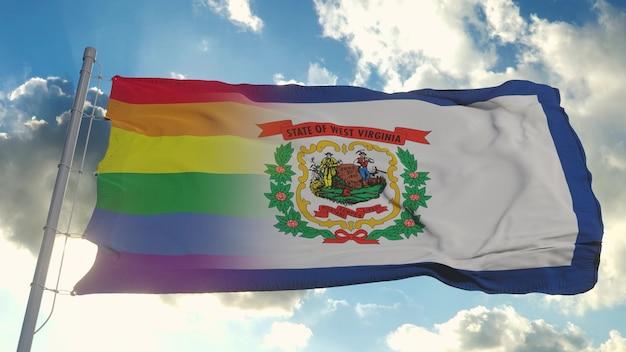 Bandiera della virginia occidentale e lgbt. bandiera mista della virginia occidentale e lgbt che sventola nel vento. rendering 3d.