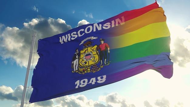 Bandiera del wisconsin e lgbt. wisconsin e bandiera mista lgbt sventola nel vento. rendering 3d