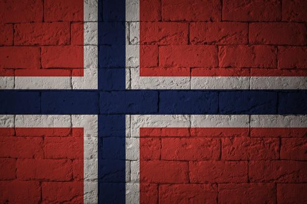 Bandiera con proporzioni originali. primo piano della bandiera del grunge della norvegia