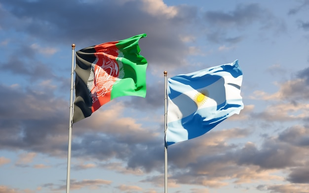Bandiere di argentina e afghanistan. grafica 3d