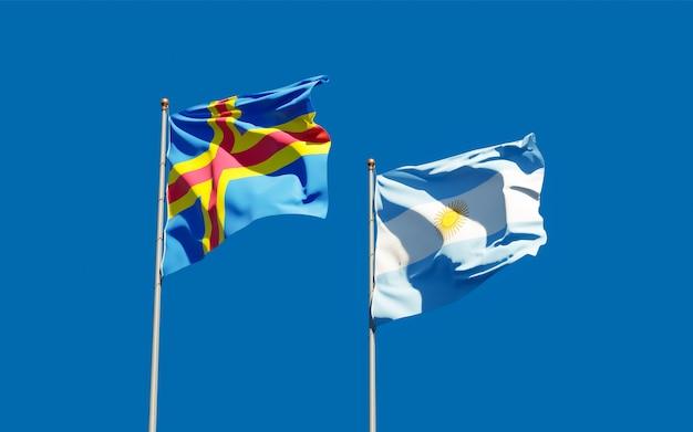 Bandiere dell'argentina e delle isole aland. grafica 3d