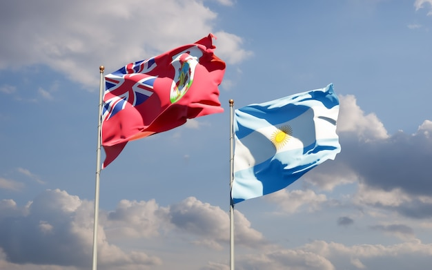 Bandiere di argentina e bermuda.