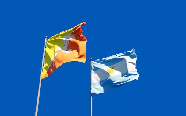 Bandiere di argentina e bhutan
