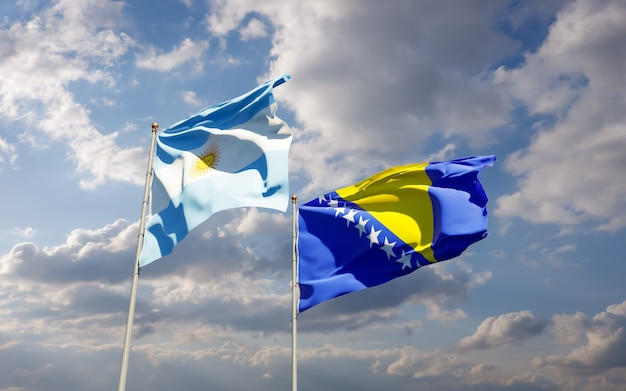 Bandiere di argentina e bosnia ed erzegovina