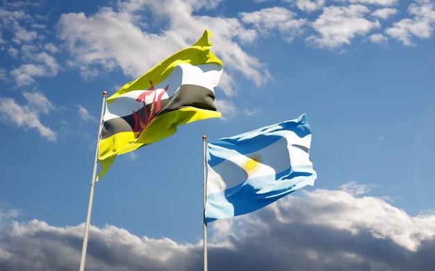 Bandiere di argentina e brunei.