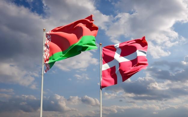 Bandiere di danimarca e bielorussia.