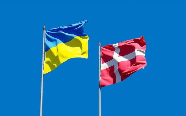 Bandiere di denmarkraine e danimarca. grafica 3d