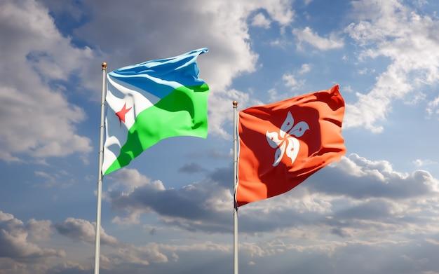 Bandiere di gibuti e hong kong hk