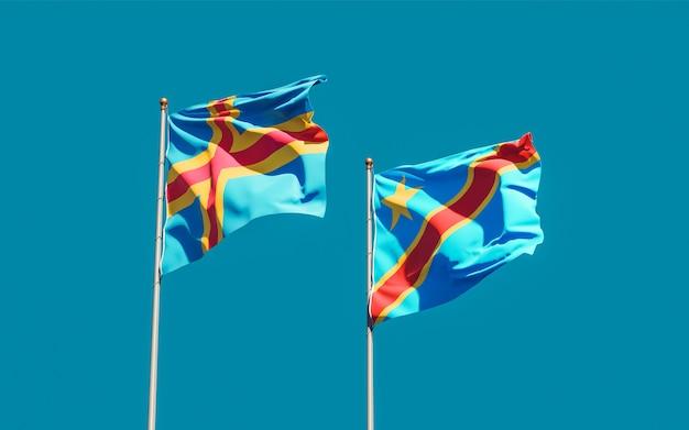 Bandiere della repubblica democratica del congo e delle isole aland. grafica 3d
