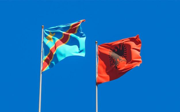 Bandiere della repubblica democratica del congo e dell'albania. grafica 3d