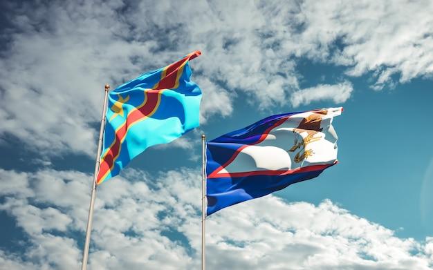Bandiere della repubblica democratica del congo e delle samoa americane. grafica 3d