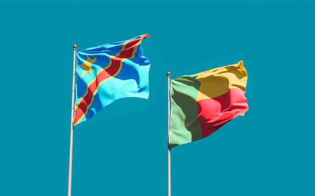 Bandiere della repubblica democratica del congo e del benin. grafica 3d