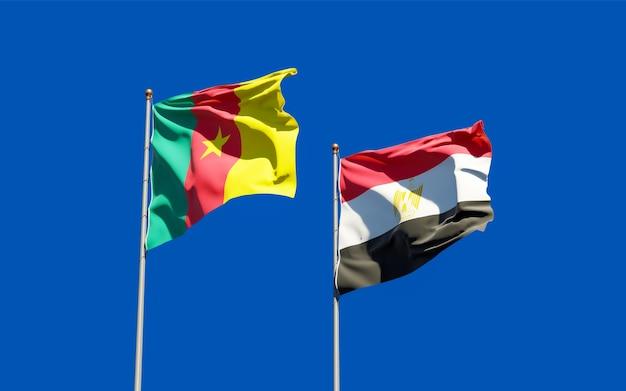 Bandiere di egitto e camerun. grafica 3d