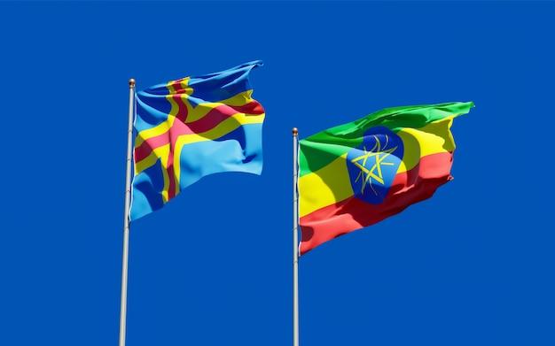 Bandiere dell'etiopia e delle isole aland. grafica 3d