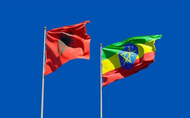 Bandiere di etiopia e albania. grafica 3d