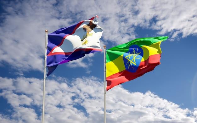 Bandiere dell'etiopia e delle samoa americane. grafica 3d Foto Premium