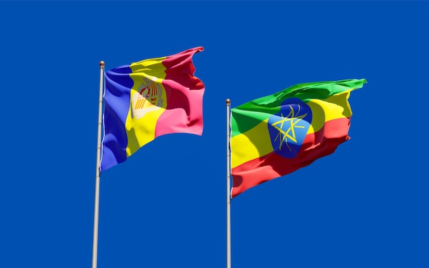 Bandiere di etiopia e andorra. grafica 3d