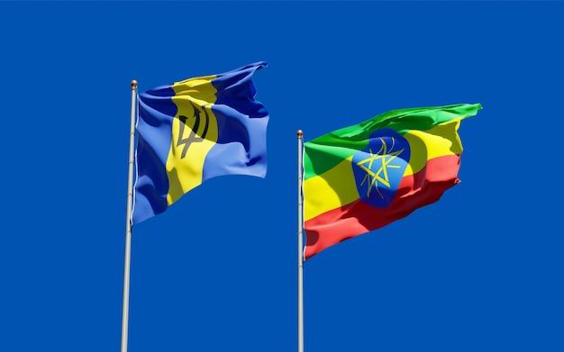 Bandiere di etiopia e barbados. grafica 3d
