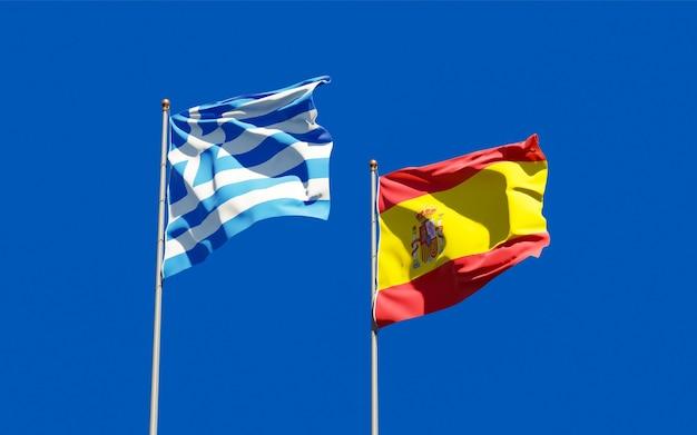 Bandiere di grecia e spagna