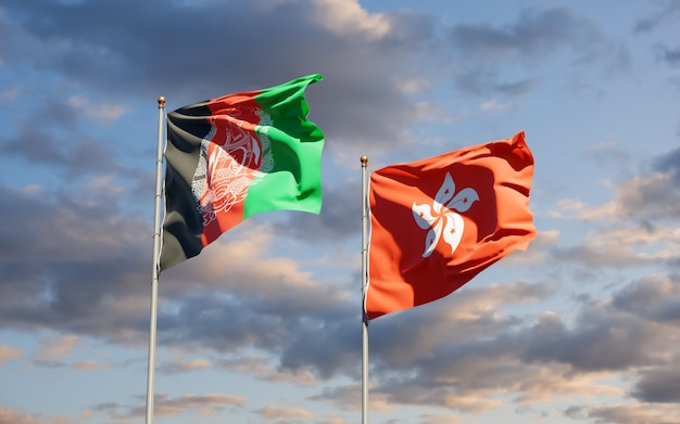 Bandiere di hong kong hk e afghanistan