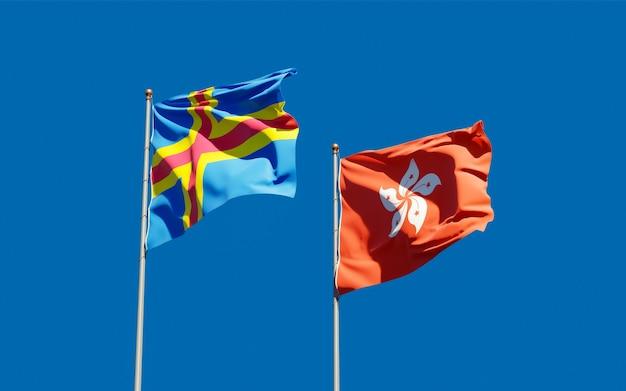 Bandiere di hong kong hk e isole aland