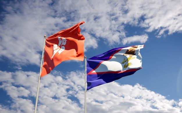Bandiere di hong kong hk e samoa americane Foto Premium
