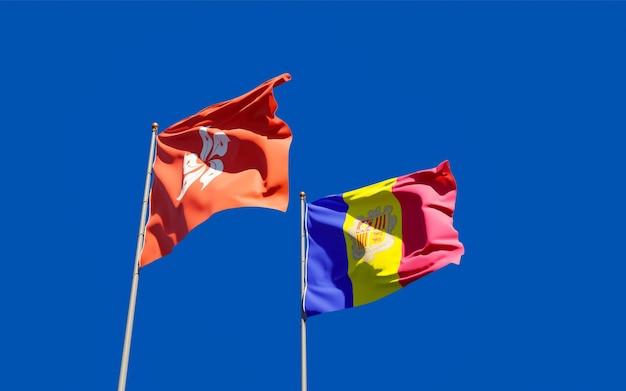 Bandiere di hong kong hk e andorra