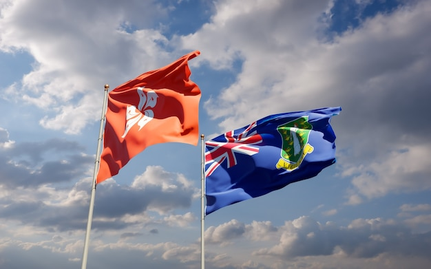 Bandiere di hong kong hk e isole vergini britanniche.