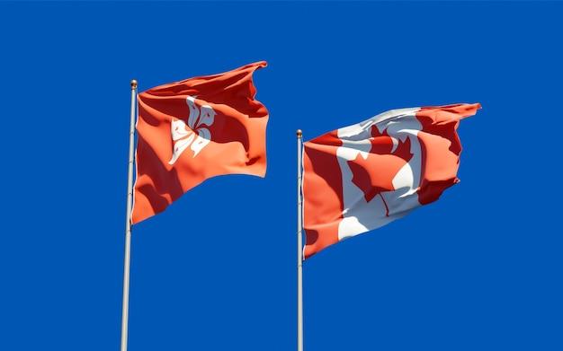 Bandiere di hong kong hk e canada.