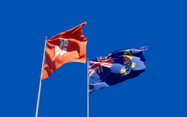 Bandiere di hong kong hk e isole cayman.