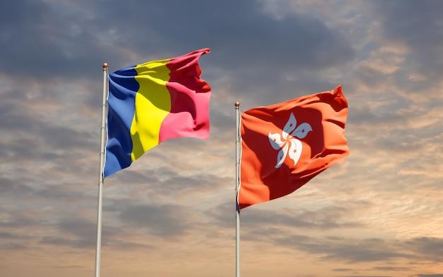 Bandiere di hong kong hk e ciad.