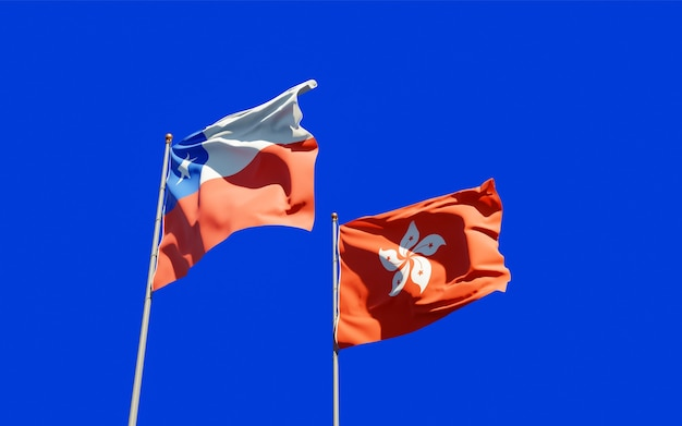 Bandiere di hong kong hk e cile.