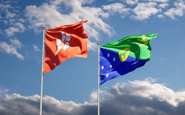 Bandiere di hong kong hk e isola di natale. grafica 3d
