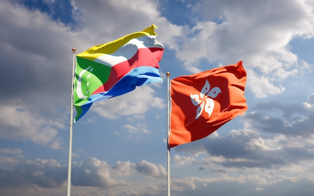 Bandiere di hong kong hk e comore. grafica 3d