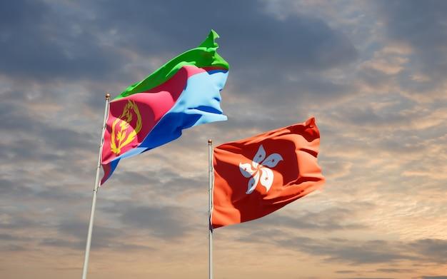 Bandiere di hong kong hk ed eritrea. grafica 3d